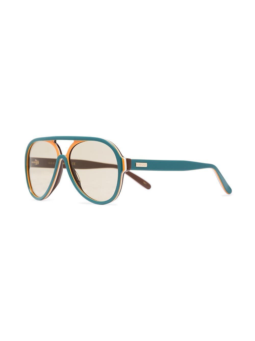 46598133cf1e Lyst - Gucci Multicoloured Gg0270s Aviator Sunglasses in Blue for Men