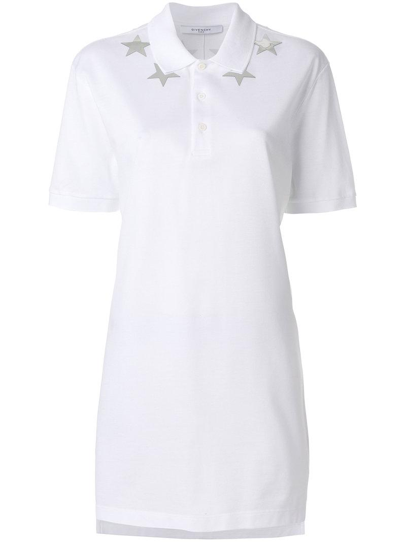 00f6af4277109 Lyst - Givenchy Star-patch Polo Top in White