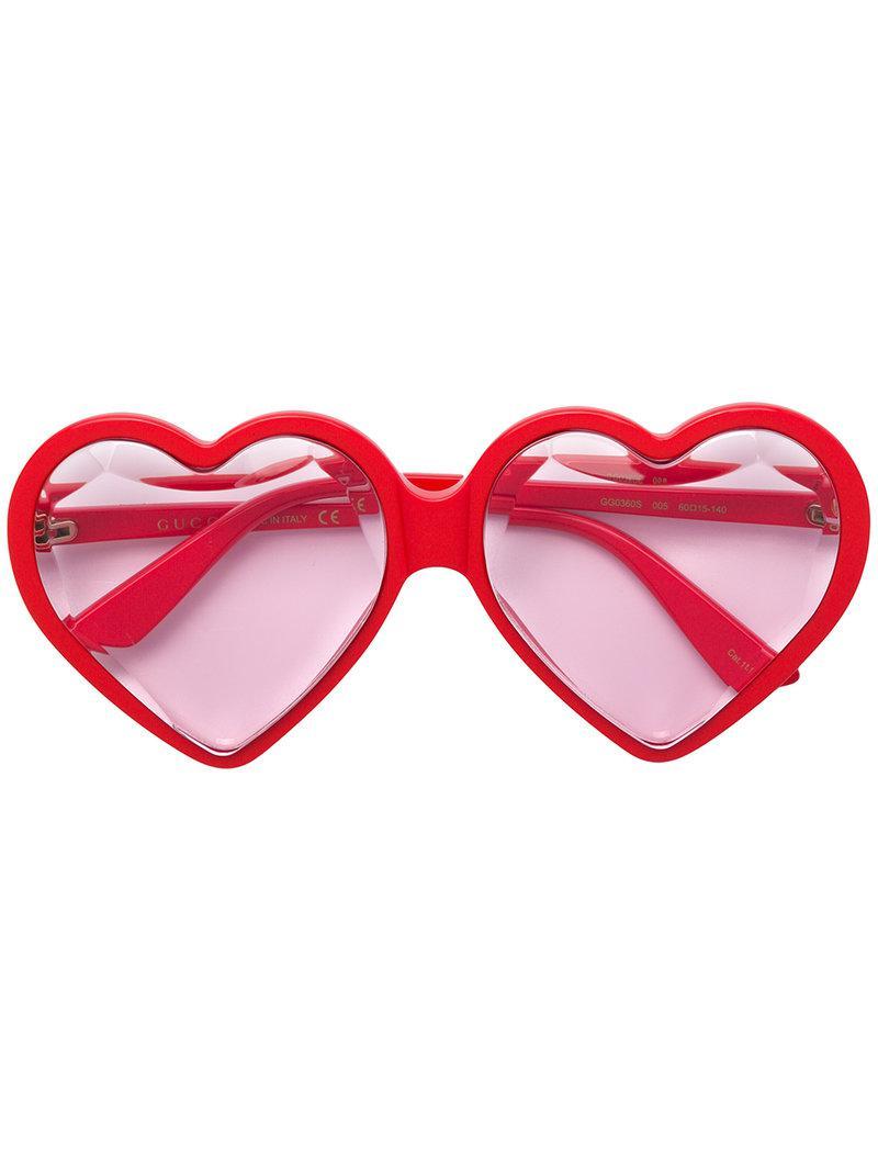 f74a4a7df0437 Lyst - Gucci Love Heart Sunglasses in Red