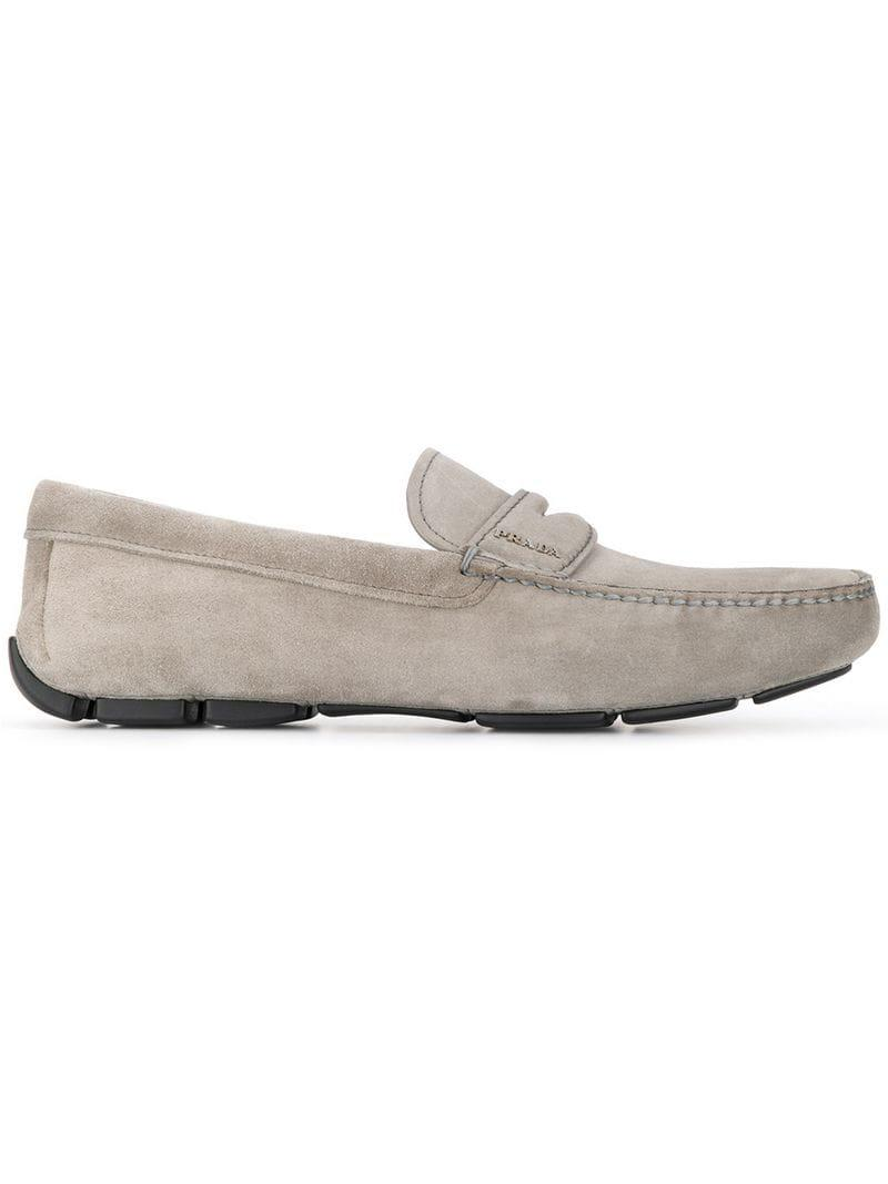 204bbd229 Lyst - Prada Suede Loafers in Gray for Men