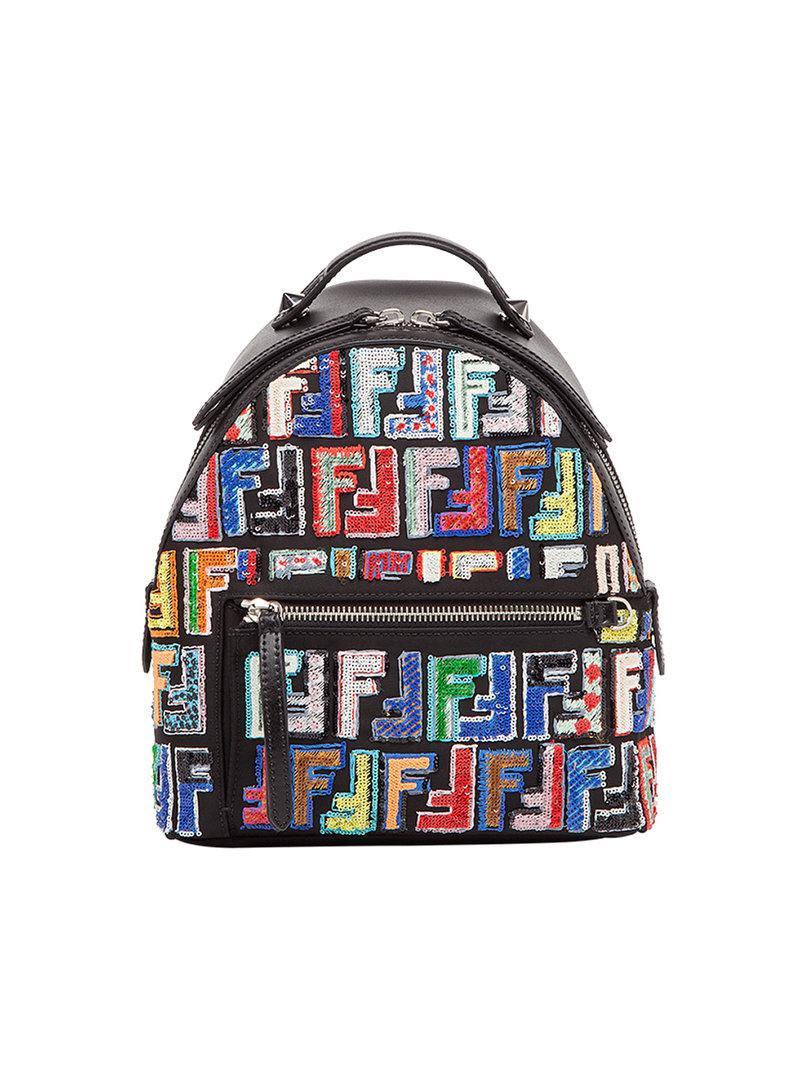 3b0610fbe7 Lyst - Fendi Zaino Mini Backpack in Black - Save 4%