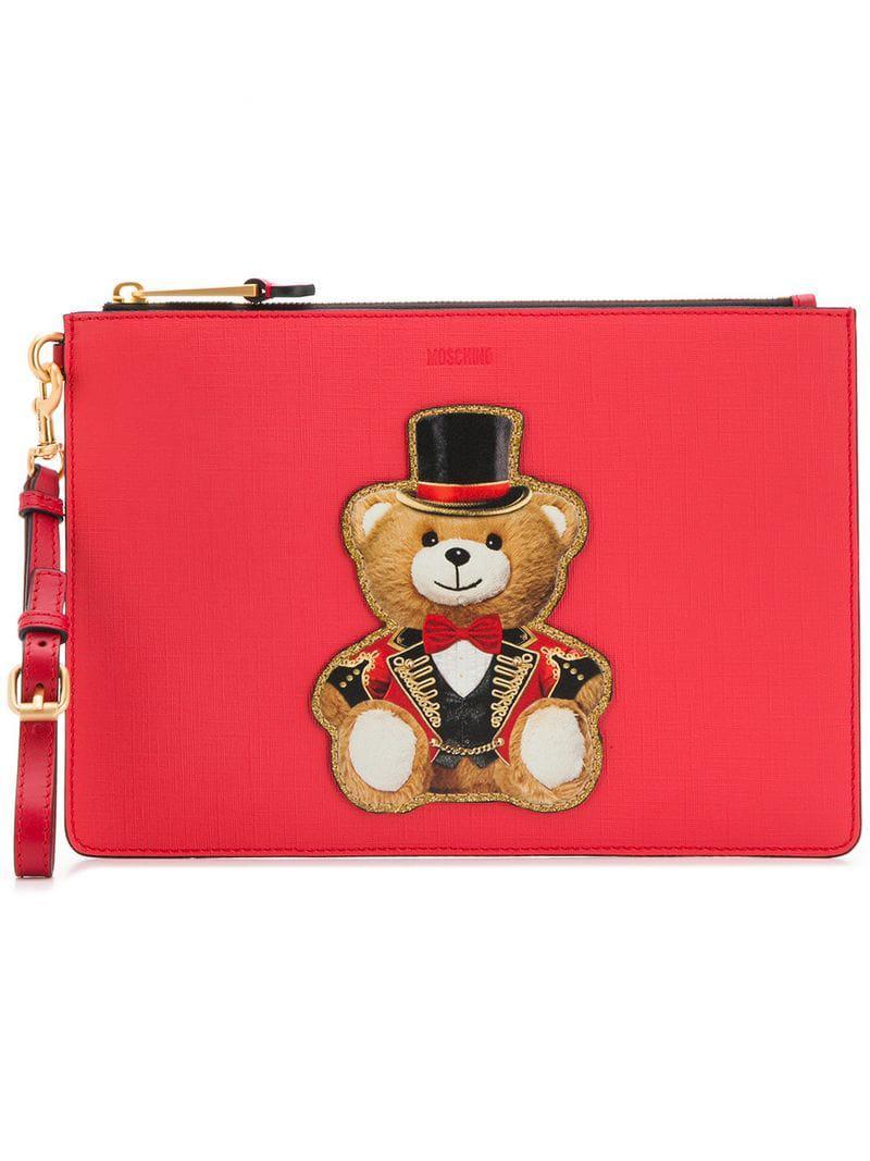 7e9a1d9c07f Moschino - Red Teddy Print Clutch Bag - Lyst. View fullscreen