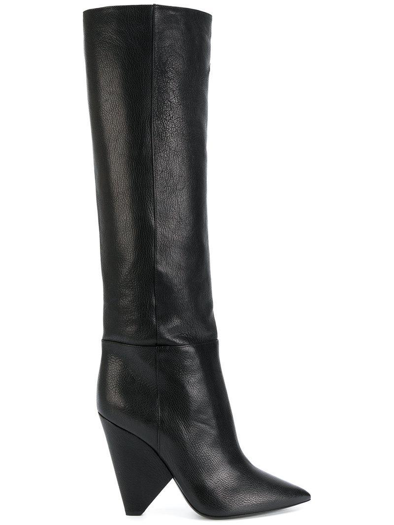 Black Niki 105 Leather Thigh boots Saint Laurent IdqSSLPoBF