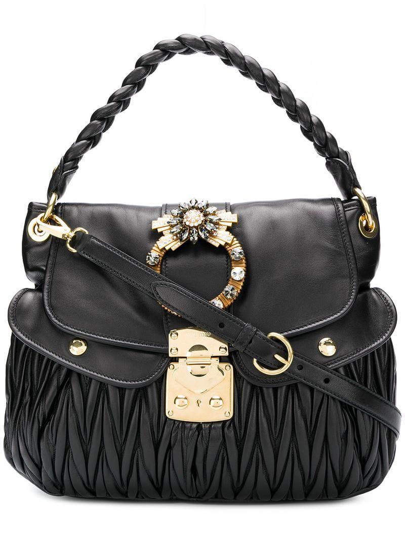 cf8905669a32 Miu Miu Coffer Tote Bag in Black - Save 5.590062111801245% - Lyst