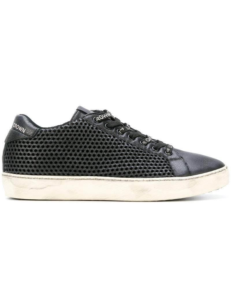 Leather Crown Mesh effect sneakers 36SquFk