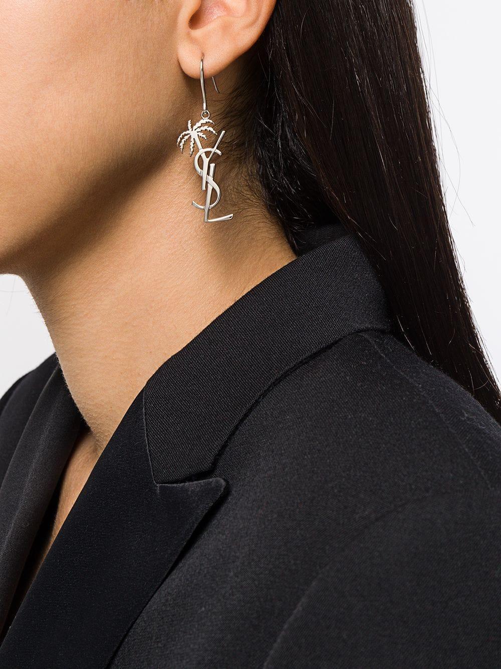 0625c64646 Saint Laurent Monogram Palm Tree Earrings in Metallic - Lyst