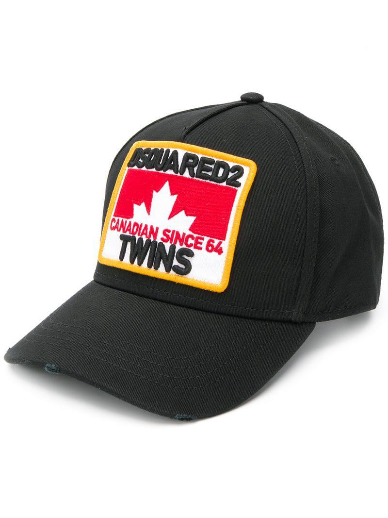 15f9f265f18ac6 DSquared² Canadian Twins Baseball Cap in Black for Men - Lyst