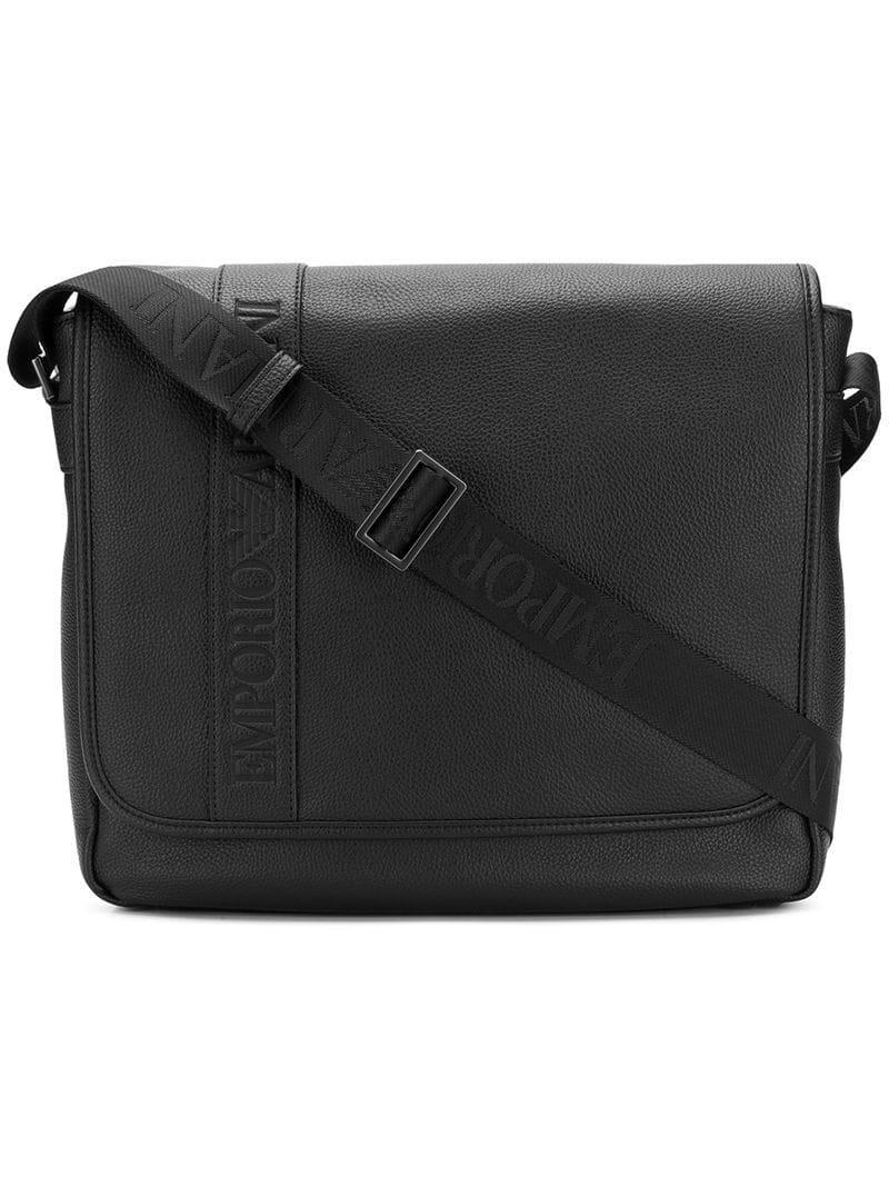 Emporio Armani Logo Flap Messenger Bag in Black for Men - Lyst 27c4fddbea160