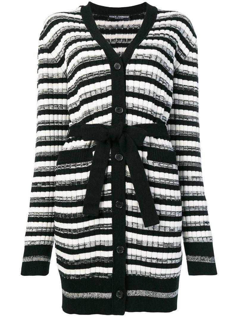 af91ec51ec Lyst - Dolce   Gabbana Belted Striped Cardigan in Black