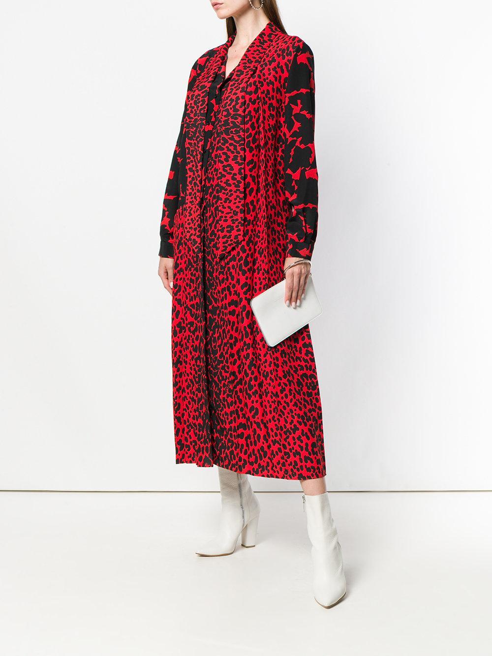 a2e69ffedd Lyst - Givenchy Lavallière Collar Midi Dress in Red
