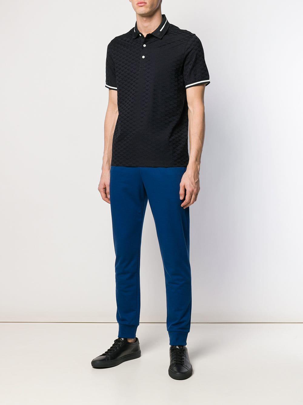 2c4a79e0682d8 Emporio Armani Textured Logo Polo Shirt in Blue for Men - Lyst