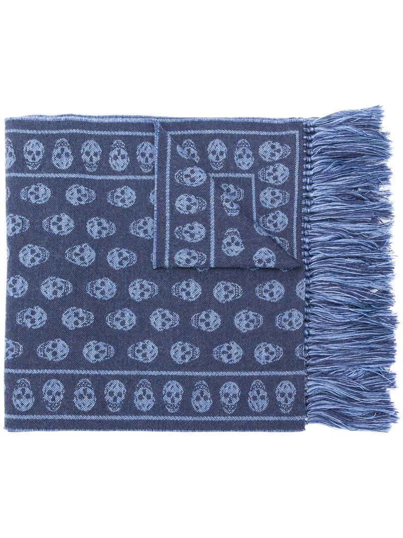 fcb854f0d41 Lyst - Écharpe Skull Alexander McQueen pour homme en coloris Bleu