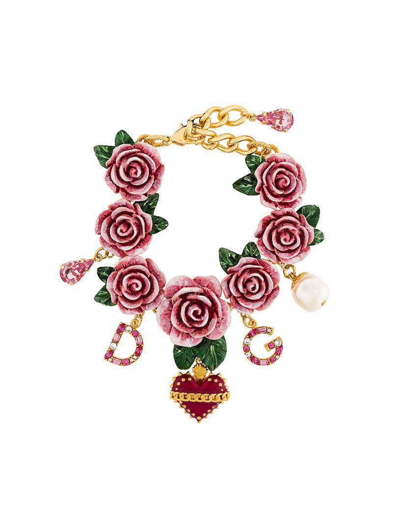 64e8307f Dolce & Gabbana Embellished Rose Bracelet in Pink - Lyst