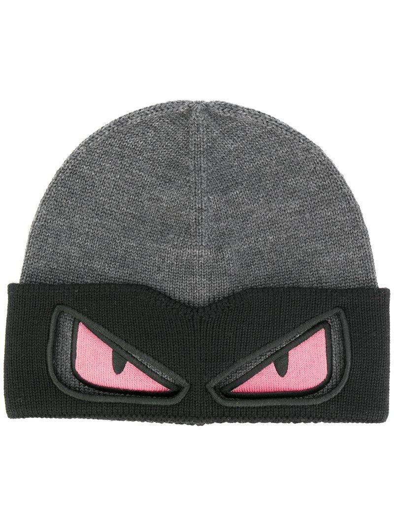 990ce99161f Fendi Eyes Knitted Beanie Hat in Gray for Men - Lyst