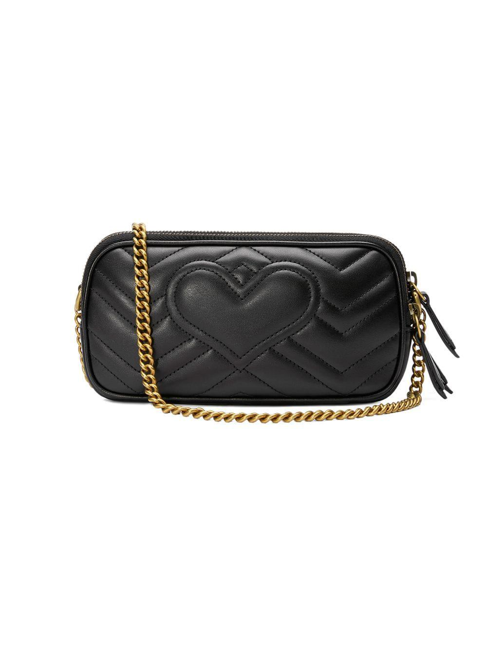 ea1ec454aa56 Gucci GG Marmont Mini Chain Bag in Black - Lyst