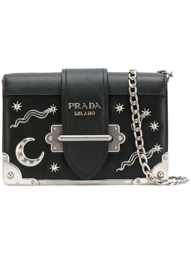 a2b0315b6f773f Prada Cahier Moon And Stars Bag in Black - Lyst