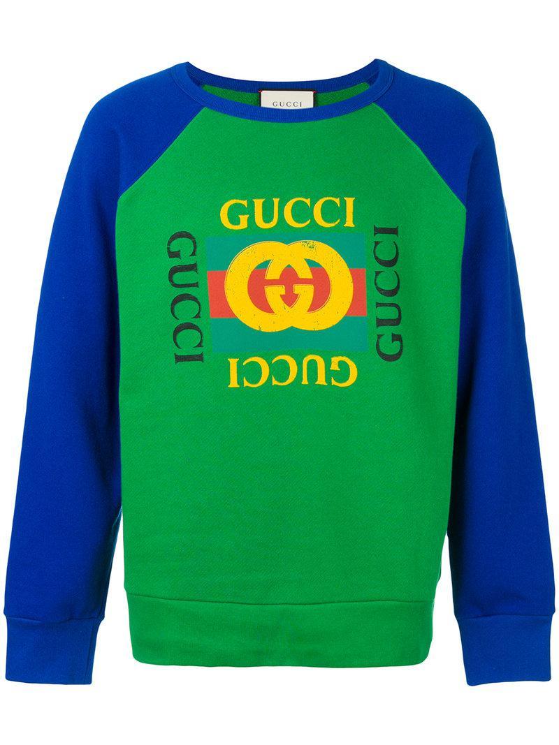 2d9798b577b Gucci - Green Print Sweatshirt for Men - Lyst. View fullscreen