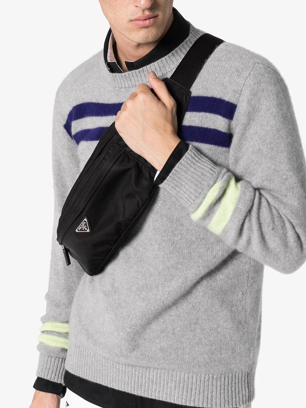 8393530e66d7 Prada Black Logo Crossbody Belt Bag in Black for Men - Lyst