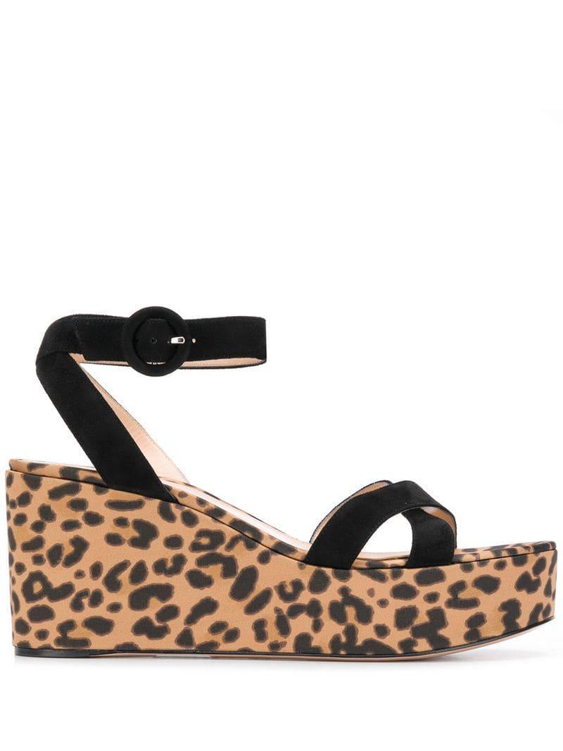 b9fa71b1c1d Lyst - Gianvito Rossi Leopard Print Sandals in Black