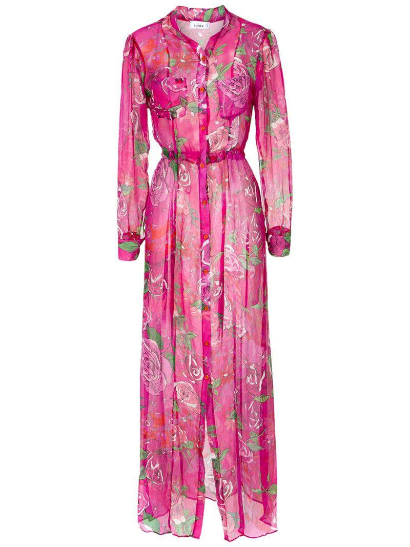 7012b45686d7 Lyst - Amir Slama Rose Print Cover-up in Pink