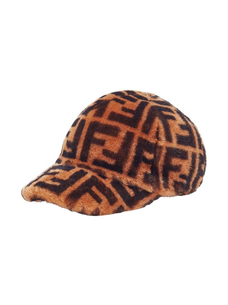 Fendi Ff Logo Cap in Brown - Lyst b7297937aeb1
