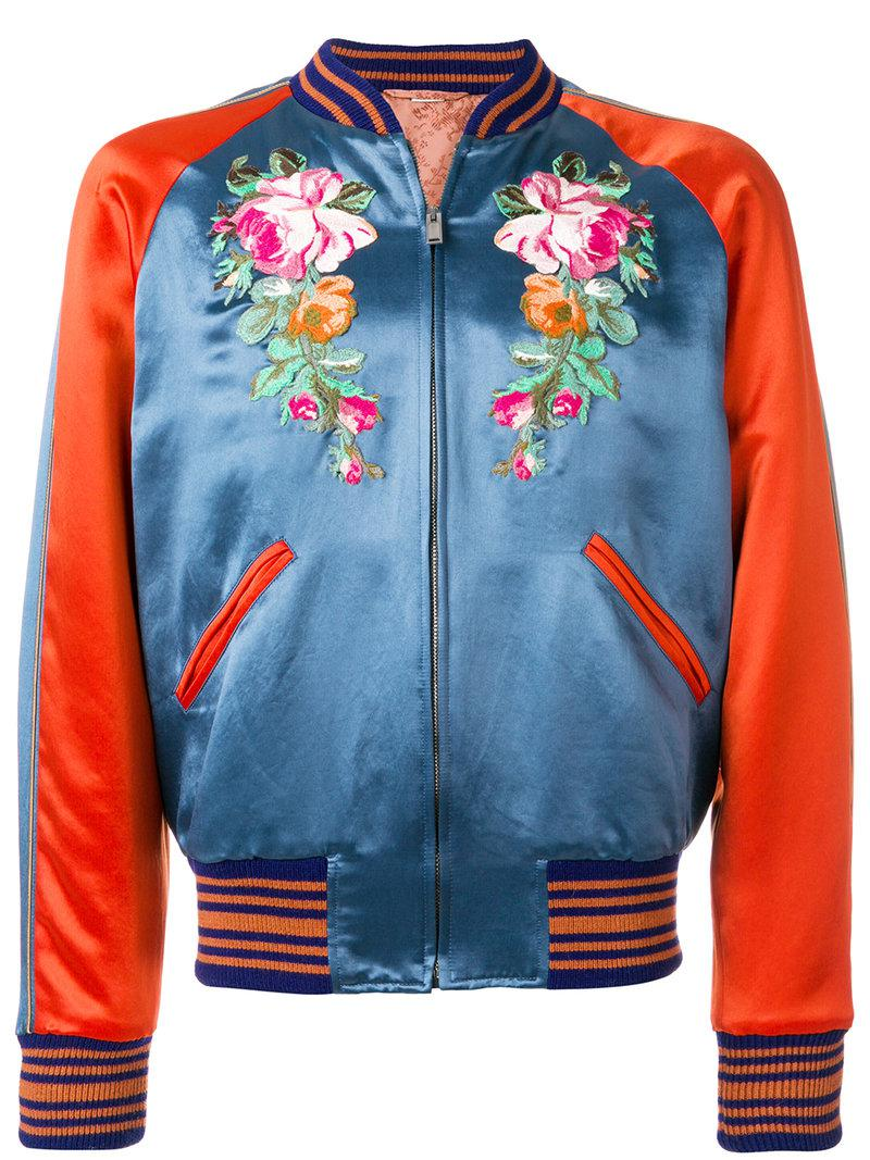 81705b4ce Gucci Bomber Ricamato in Blue for Men - Lyst