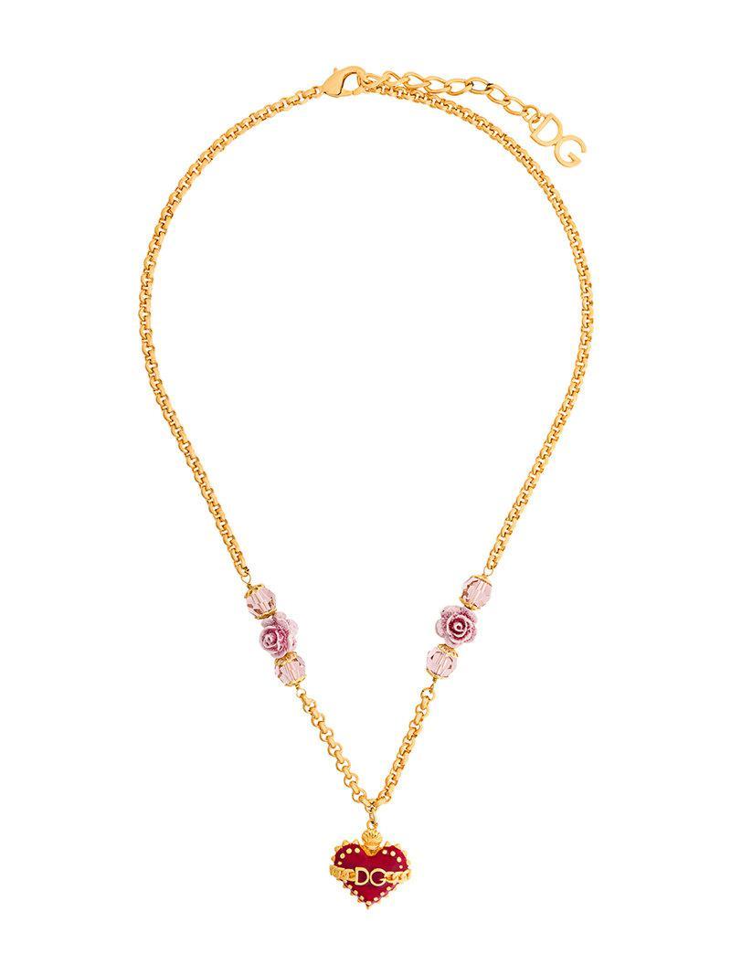 Lyst dolce gabbana sacred heart pendant necklace in metallic dolce gabbana womens metallic sacred heart pendant necklace aloadofball Images