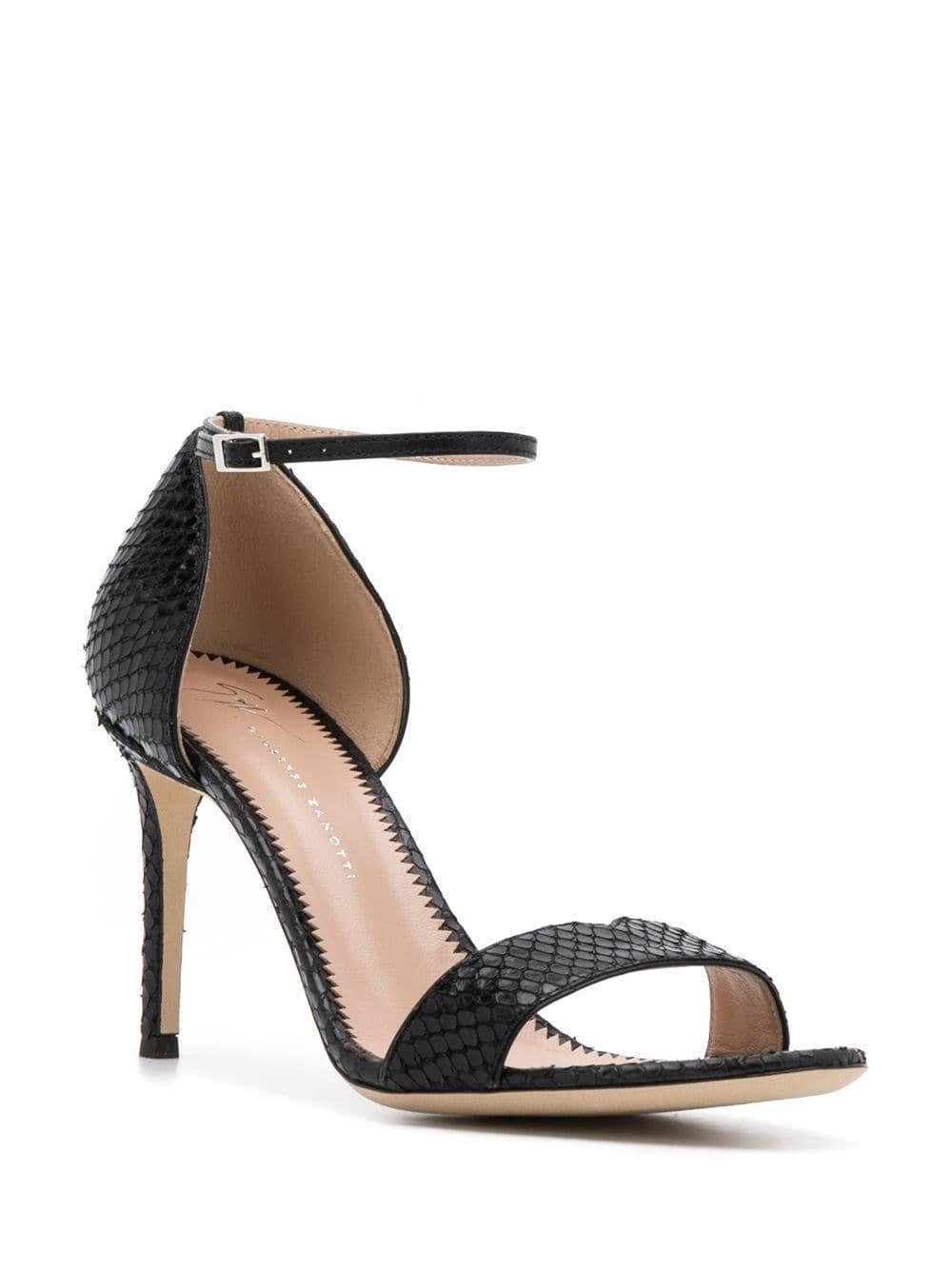 7b35d516b55 Lyst - Giuseppe Zanotti Snakeskin Effect Sandals in Black