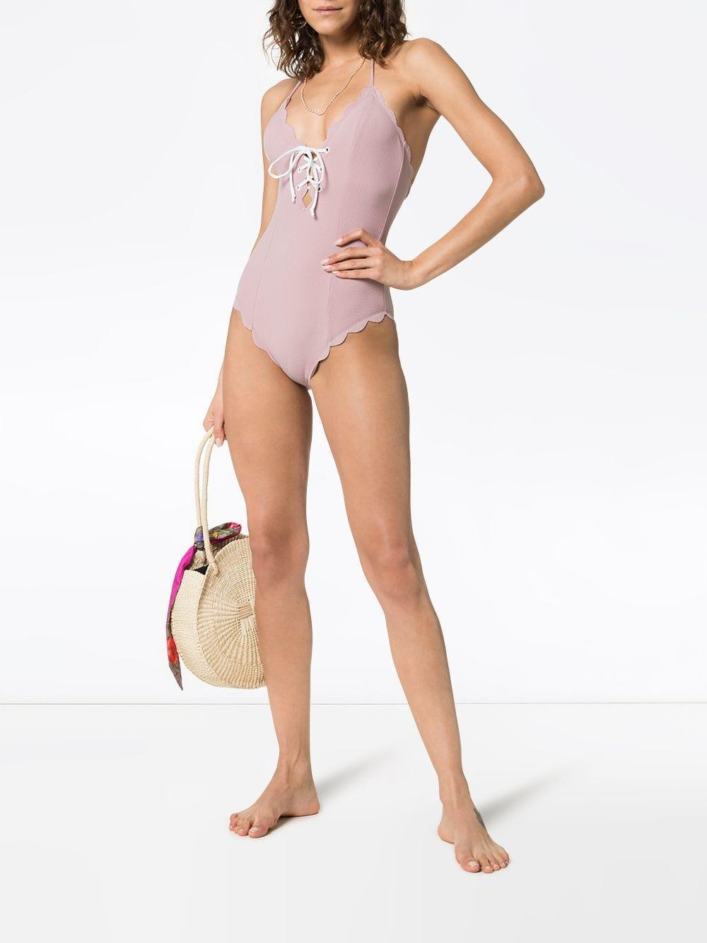 2b081c79558b Marysia Swim - Pink Broadway Lace Up Scallop Trim Swimsuit - Lyst. View  fullscreen