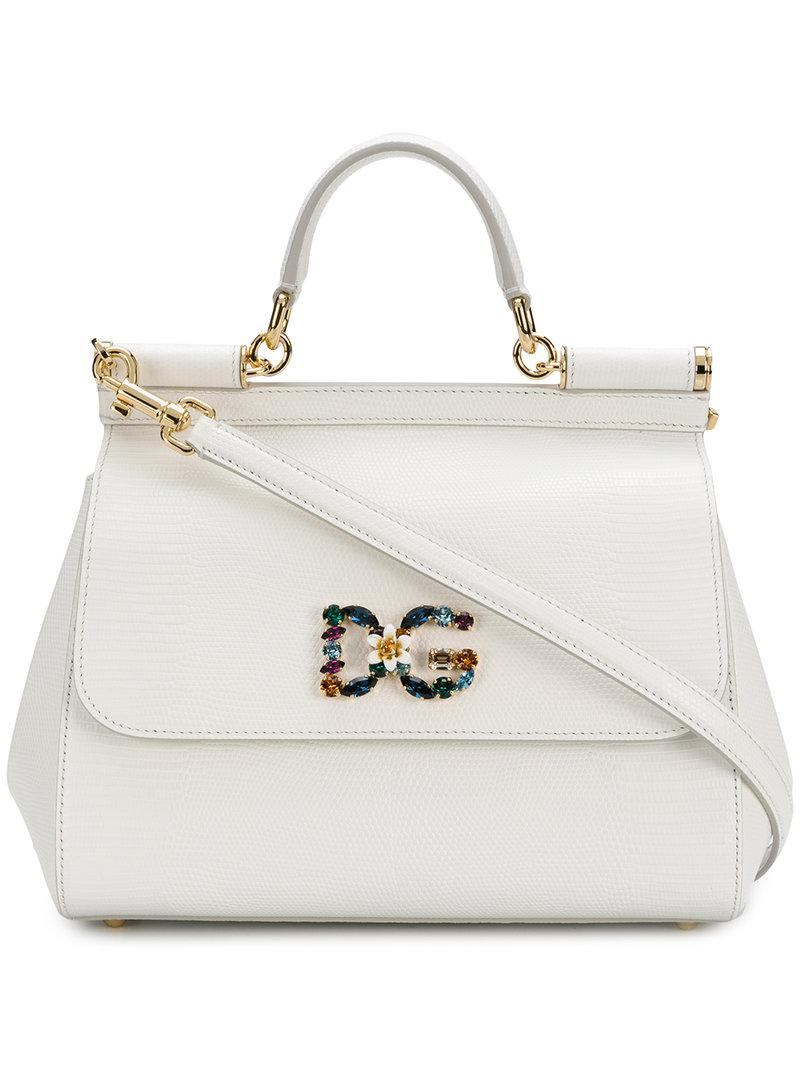 e0ce537423 Dolce   Gabbana Small Sicily Shoulder Bag in White - Lyst