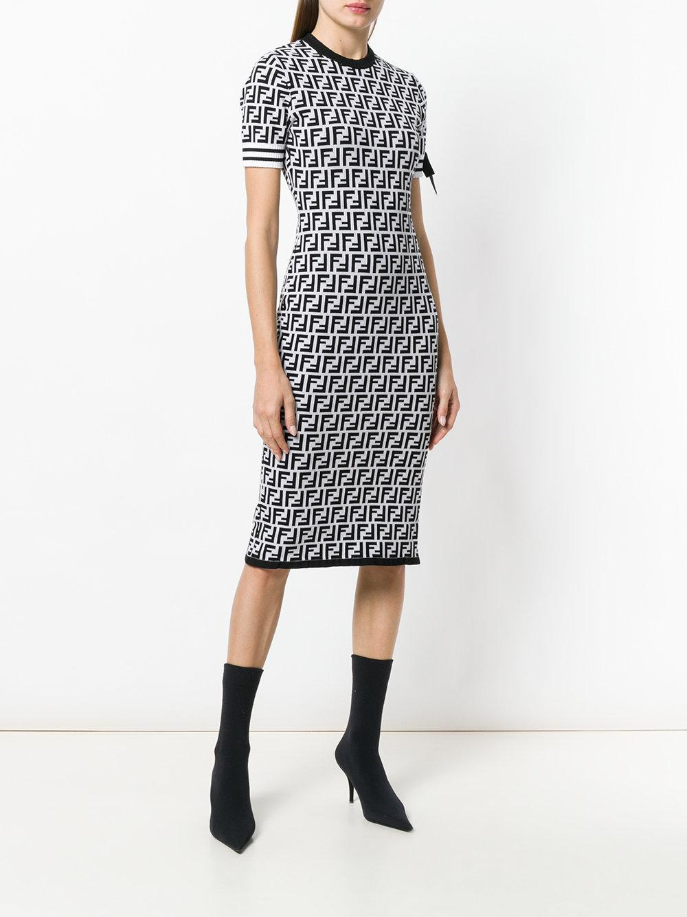347dab27d62 Fendi Logo Short-sleeve Sweater Dress in Black - Lyst