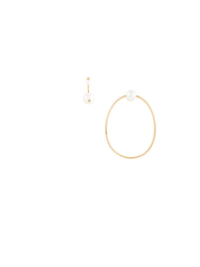 Delfina Delettrez 18kt gold Pearl & Hoop diamond earrings - Metallic wvAoa34c