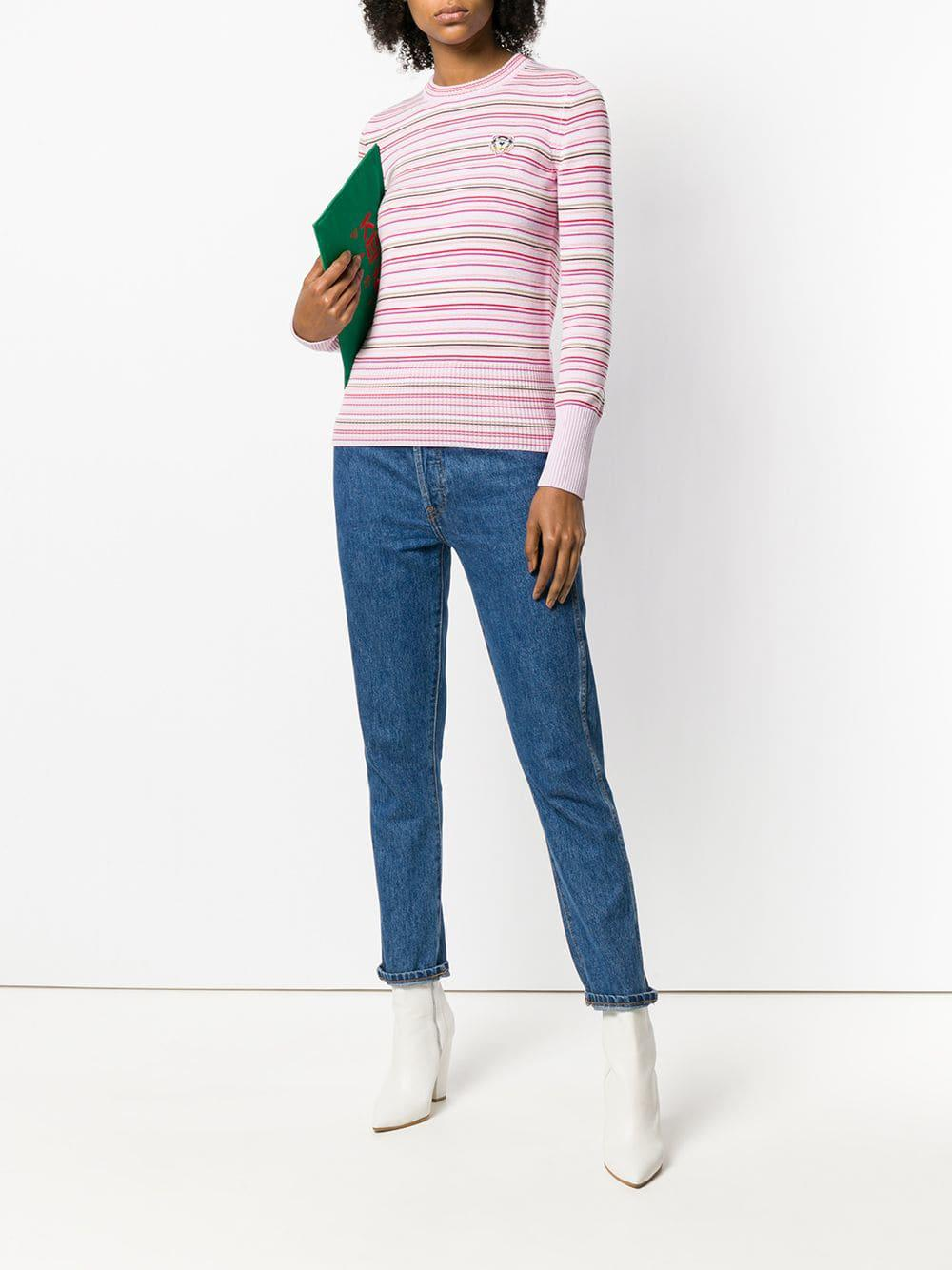 f8edfb11ed46 KENZO Tiger Crest Striped Sweater in Pink - Save 25% - Lyst