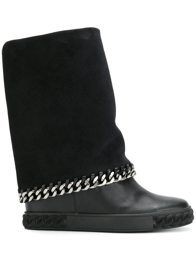 Casadei Concealed platform chain boots TexmNHK