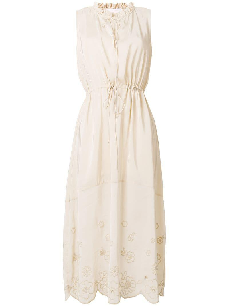 6fabb5d7395 Lyst - See By Chloé Sleeveless Midi Dress in Natural - Save 5%