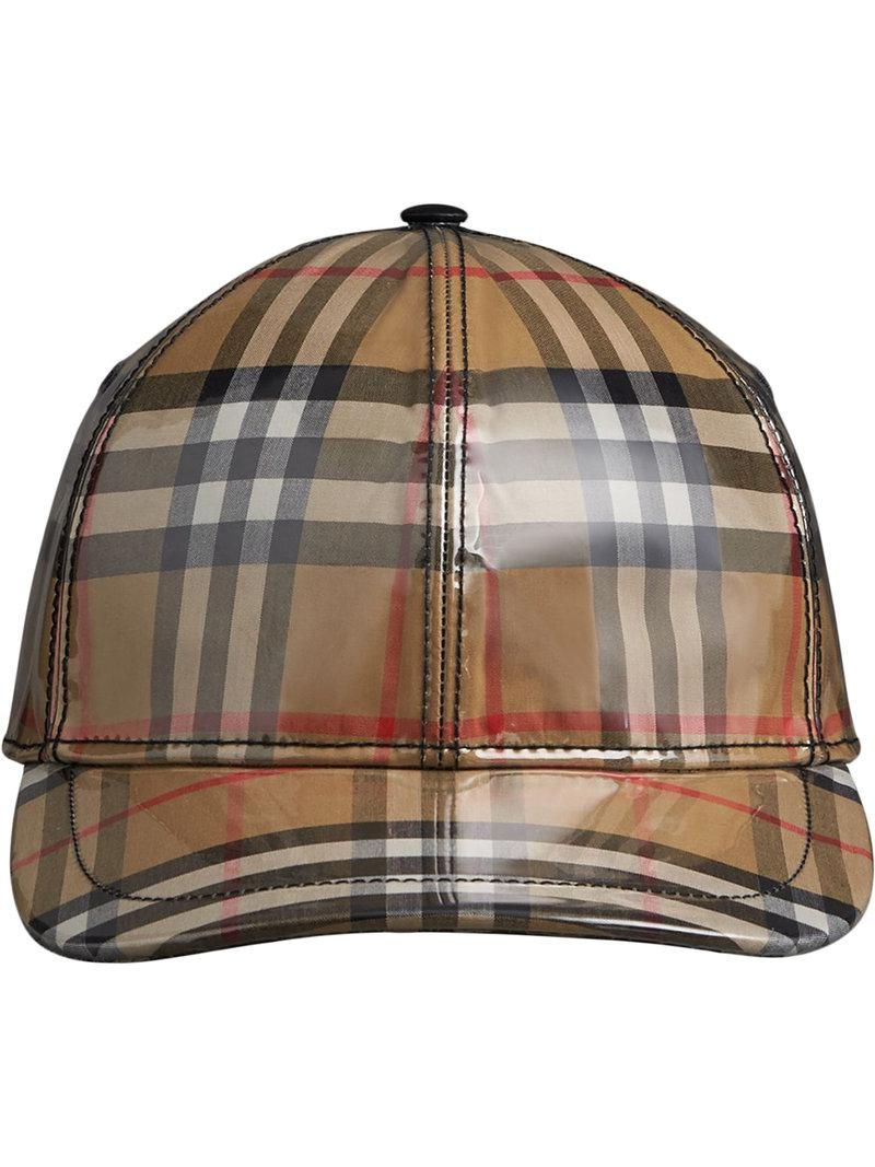 227bb607 Burberry Laminated Vintage Check Baseball Cap for Men - Lyst