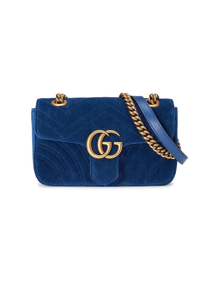 f10b44ce07cd Lyst - Gucci Gg Marmont Velvet Shoulder Bag in Blue - Save 20%