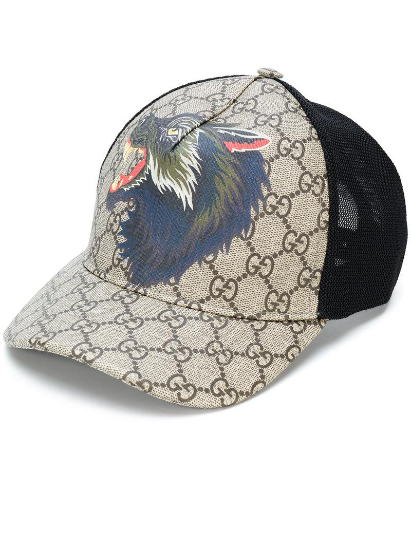 24bd4d31f3d Lyst - Gucci Gg Supreme Wolf Baseball Hat in Brown for Men