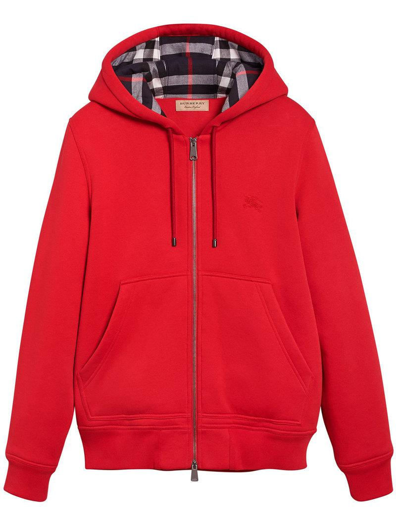 206a17dc135b Lyst - Burberry Check Detail Jersey Hooded Top in Red for Men - Save 11%