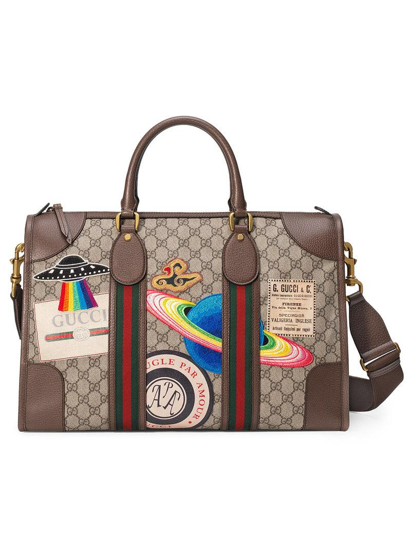 2649a6618fe7 Gucci Leather Courrier GG Supreme Duffle Bag - Save 15% - Lyst