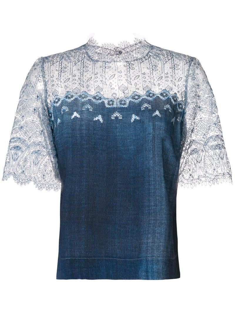 Ermanno Scervino lace sleeve gradient top Sale For Sale Discount Looking For Official Site Aaa Quality Cheap Nicekicks RfV09nW