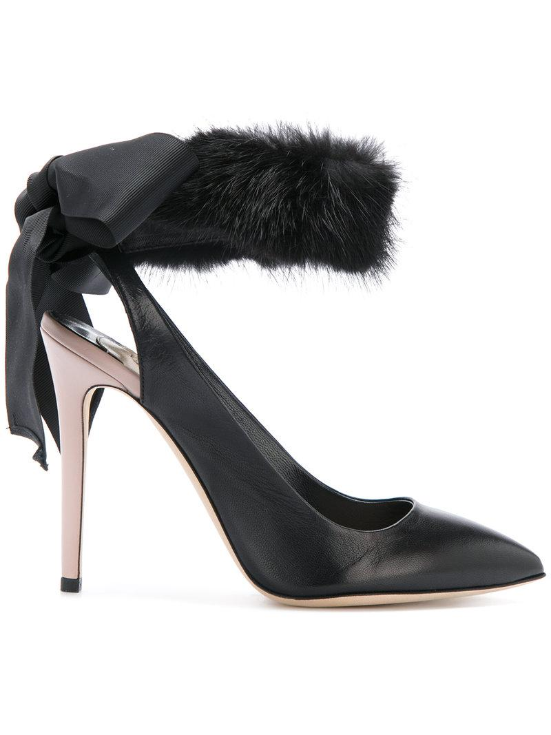 Cheap Clearance Outlet For Cheap fur trim pumps - Black Olgana Paris Best Store To Get For Sale Cheap Real Authentic Sale Manchester Great Sale GWhJzSwK