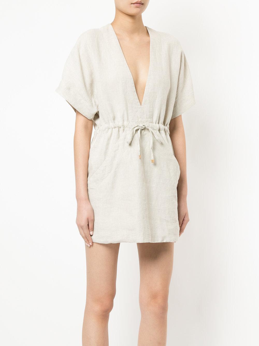 b8932b6555 Lyst - Venroy V-neck Relaxed Dress in Natural