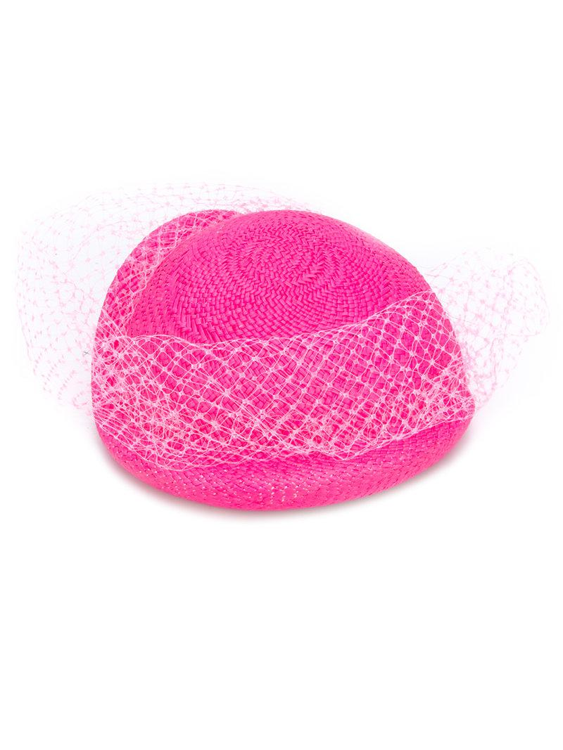3f6c348f04b Lyst - Federica Moretti Veil Embellished Woven Hat in Pink