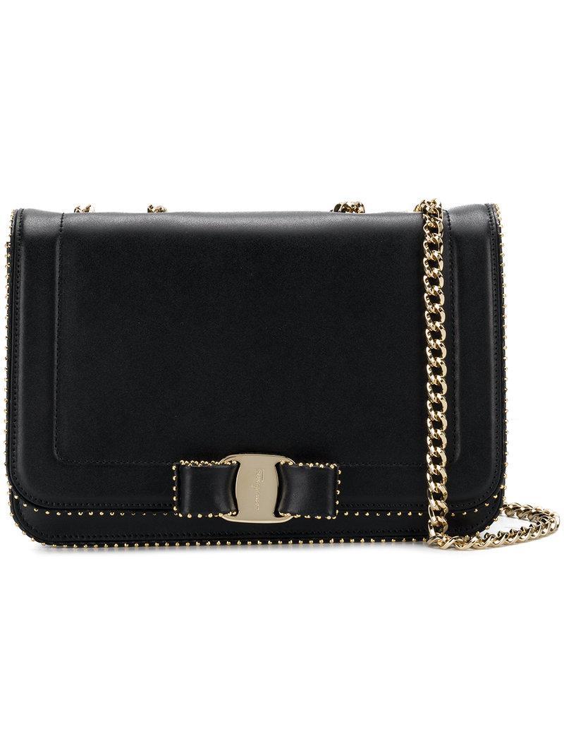 c82a24dcfa82 Lyst - Ferragamo Vara Flap Shoulder Bag in Black - Save 4%