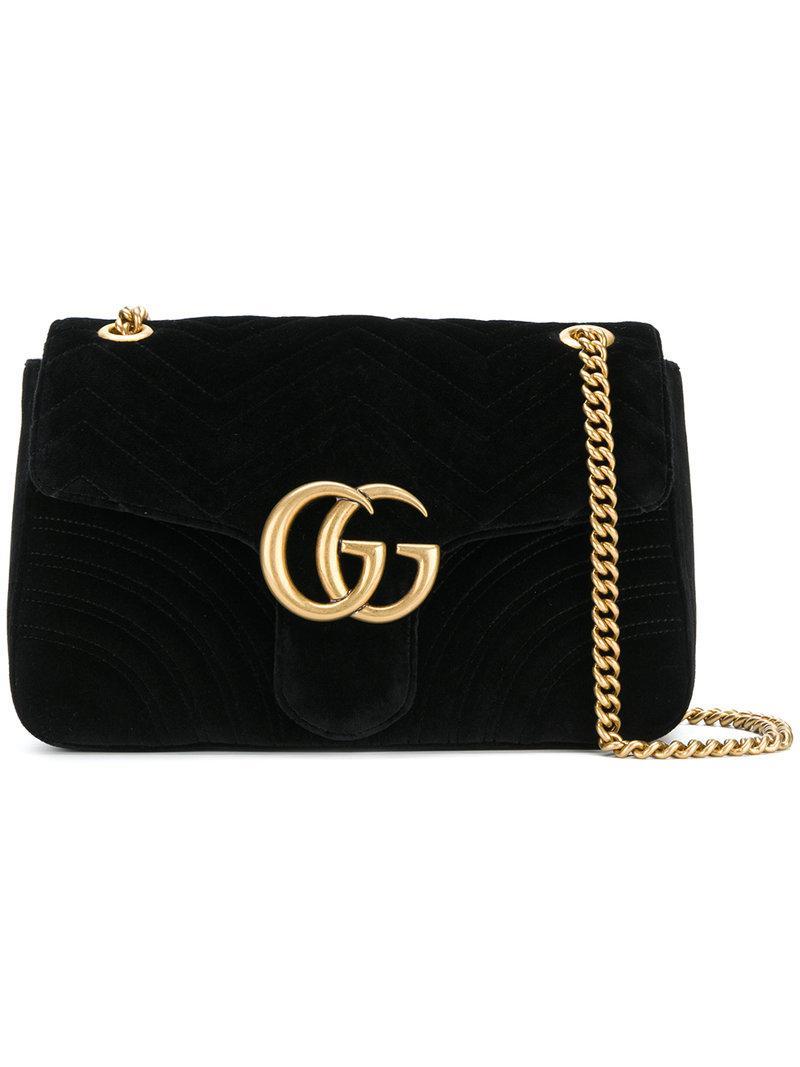 70615fd4c Gucci Marmont 2.0 Velvet Shoulder Bag in Black - Save 18% - Lyst