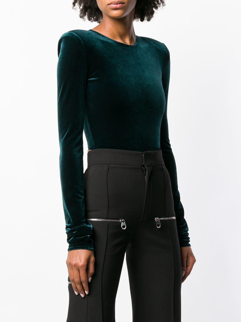 Alexandre Vauthier Velvet Bodysuit in Green - Lyst 2fcdabf15