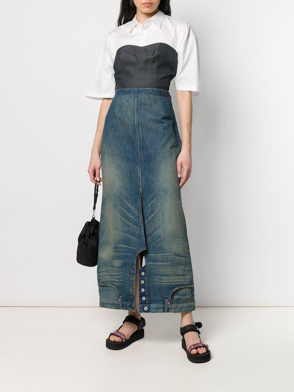a717850df8 Lyst - Junya Watanabe Denim Upside Down Skirt in Blue