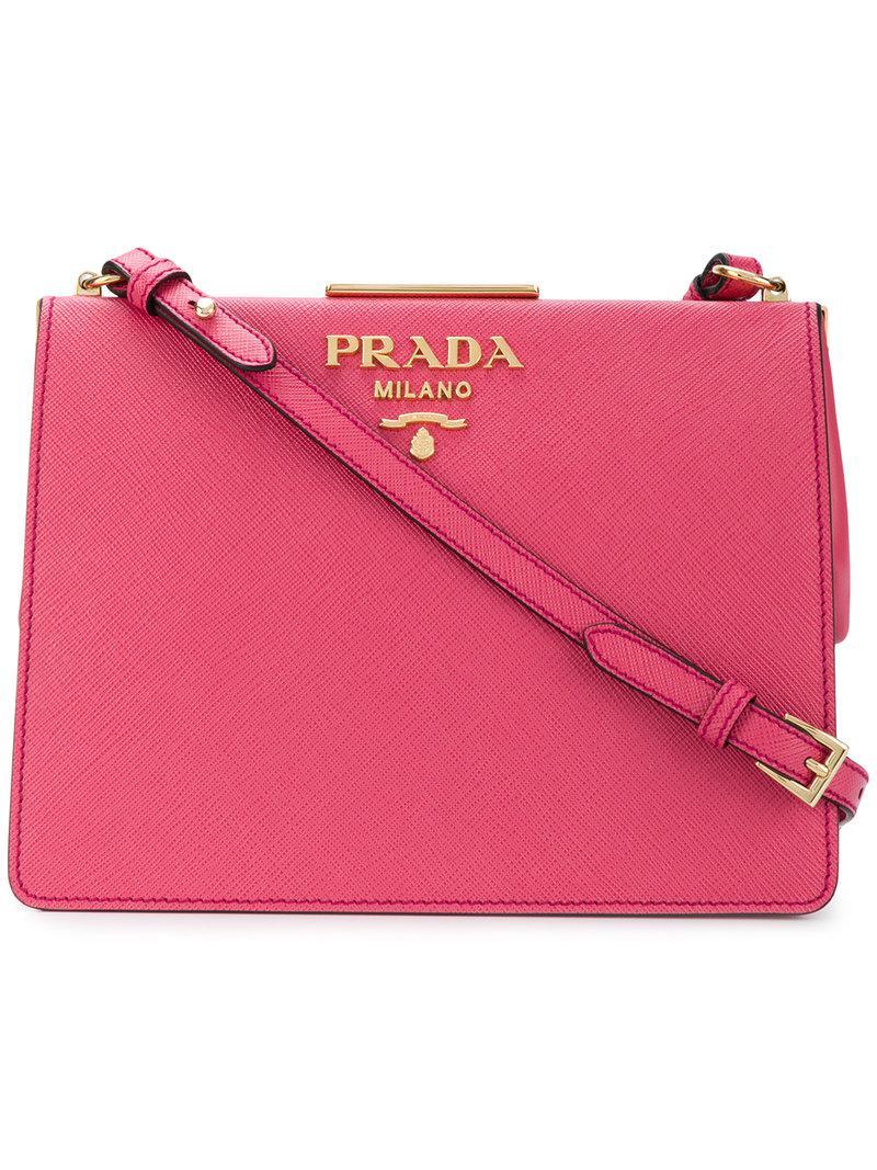 Frame Textured-leather Shoulder Bag - Baby pink Prada Rrh0t