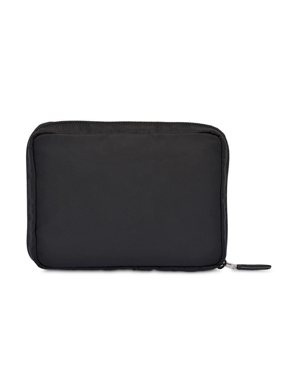 Prada Logo Plaque Travel Pouch in Black for Men - Lyst e5fea3a29ff64